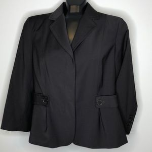 TALBOTS brown Wool blend fitted cropped blazer 10